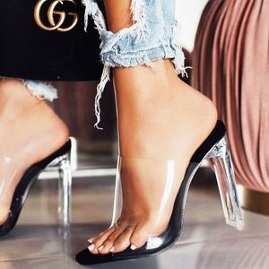 NEW🔥 Transparent Open Toe Clear Heel Slide Sandal